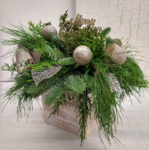 Holiday Cheer Evergreens in Wooden Box