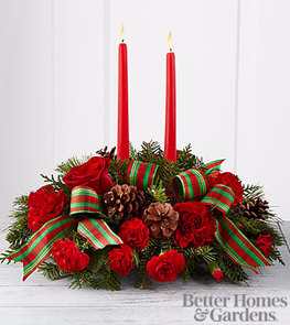 Holiday Classics Centerpiece Fresh Flowers in container