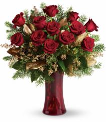 Holiday Dozen Roses Rose Arrangement