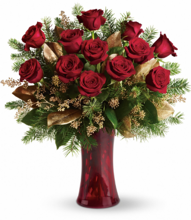 Holiday Dozen Roses Rose Arrangement