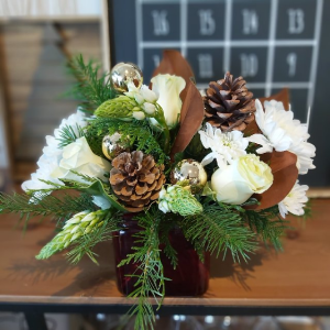 Holiday Elegance Table Center Centerpiece in Warman, SK | QUINN & KIM'S FLOWERS