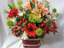 """HOLIDAY FAVORITE""  CUBE VASE WITH HOLIDAY  RIBBON AND GREEN, RED AND WHITE FLOWERS!(No Christmas Greens...Great for loved ones in the nursing homes that can't tolerate the smells)"