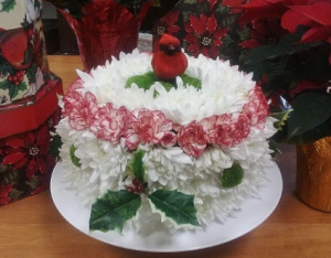 Holiday Flower Cake Arrangement in Croton On Hudson, NY | Cooke's Little Shoppe Of Flowers