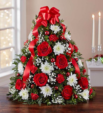 Holiday Flower Tree  Mixed Flowers Holiday Colors