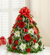 "Holiday Flower Tree Tabletop Tree Approximately 21""H x 13""L"