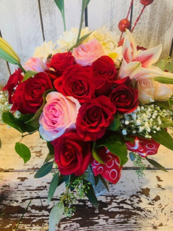 Holiday  Fun 2 doz.roses any color combo w/alittle lillies