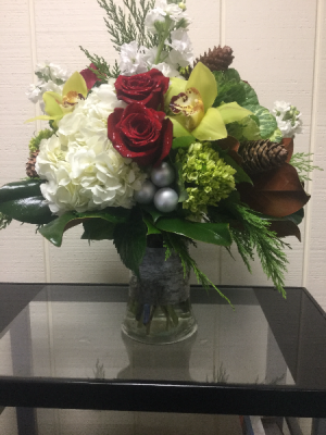 Holiday Gathering Vase Arrangement in Fairfield, CT | Blossoms at Dailey's Flower Shop