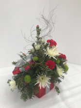 Holiday Gift of Flowers Centerpiece