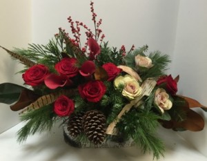 Holiday Grandeur birch basket in Northport, NY | Hengstenberg's Florist