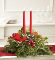Holiday greens centerpiece  Christmas