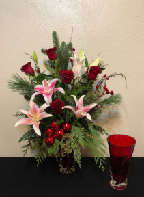 Holiday Greetings Keepsake Vase Arrangement