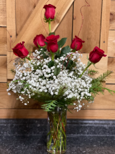 Holiday Half Dozen Red Rose  Vased