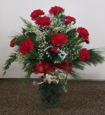 Holiday Holly       (local only) Fresh Floral Vase