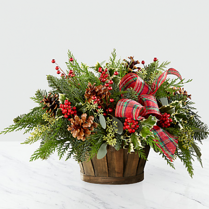 Winter Greens Basket Basket Arrangement