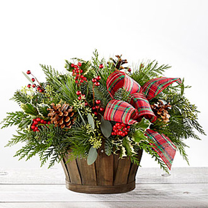 Holiday Homecomings Basket Holiday Floral Arrangement