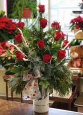 Holiday Magic Long Stem Red Rose Arrangement