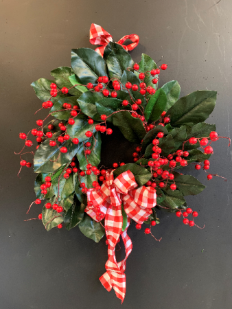 Holiday Magnolia Silk Wreath Silk Door Piece
