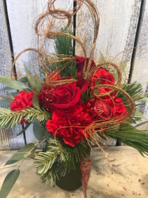 Holiday mix roses/ carn/xmas bulbs and bling