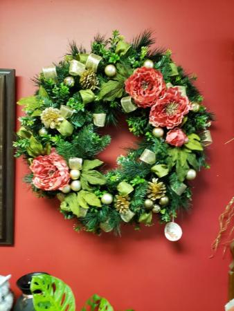 Holiday Peony Wreath Wreath