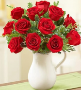 Holiday Pitcher of Roses