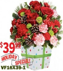 Holiday Present Christmas Flowers