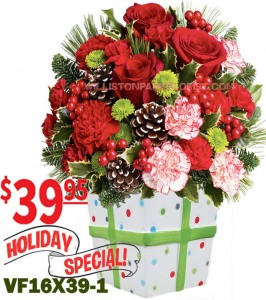 Holiday Present Christmas Flowers in Williston Park, NY | VOGUE FLOWERS