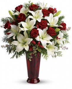 Holiday Red Vase Arrangment Traditional Christmas