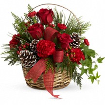 Rosy Basket Winter Bouquet