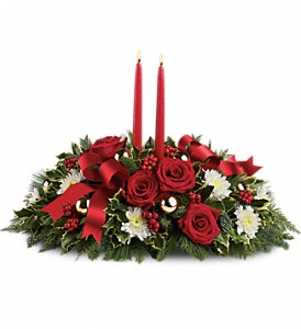 Holiday Shimmer Centerpiece in Prince George, BC | MRS FLOWERS FRESH FLOWERS & GIFTS