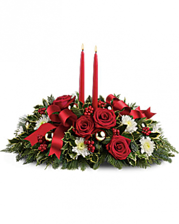 Holiday Shimmer Centerpiece Christmas arrangement