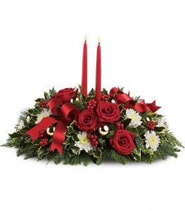 Holiday Shimmer  Evergreen Centerpiece in Plum, PA | FOREVER GREENE FLOWERS INC.