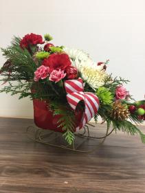 Holiday sleigh Christmas arrangement