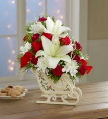 Holiday Sleigh with Lilies