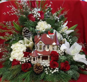 Holiday Specatular with Large LED House Holiday Basket in Croton On Hudson, NY | Cooke's Little Shoppe Of Flowers