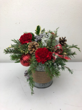 Holiday Tin of Cheer Carnations and Holiday greens