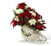 HOLIDAY TRADITIONAL CERAMIC SLEIGH RED AND WHITE FLOWERS