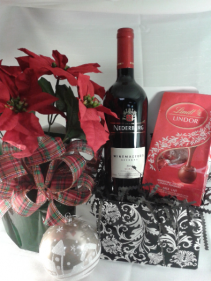 "HOLIDAY TRIO SPECIAL 6"" Poinsettia, wine and chocolates"
