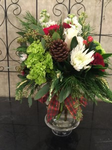 Holiday Vase with Ribbon Trim Winter Greenery