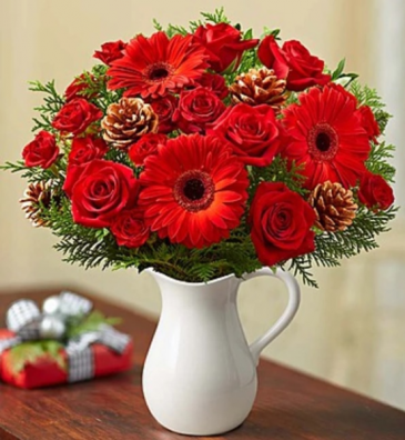Holiday Wishes in a Pitcher Arrangement