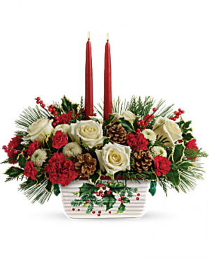 Holly Centerpiece Christmas Flowers in Riverside, CA | Willow Branch Florist of Riverside