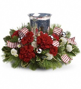 Holly Jolly Candle  Holiday Centerpiece