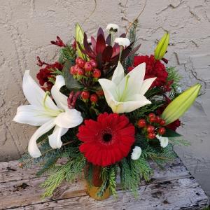 Holly Jolly Christmas Vased Arrangement in Auburn, AL | AUBURN FLOWERS & GIFTS