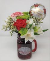 "Holly Jolly Mason Jar With 4"" mylar balloon"