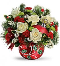 Holly Ornament Bouquet Christmas Arrangement