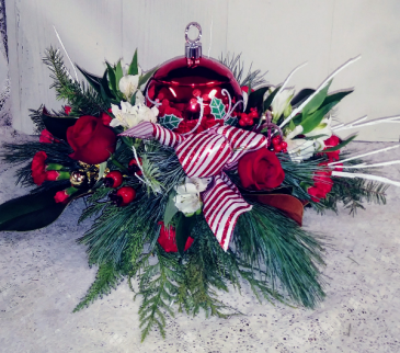 Holly Ornament Centerpiece