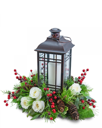 Hollyberry Rose Lantern Flower Arrangement