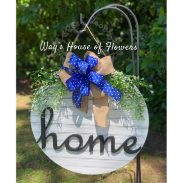 Home Door Hanger, Blue Bow Mother's Day