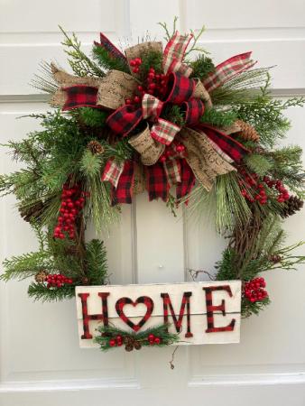 Home For Christmas Wreath Silk