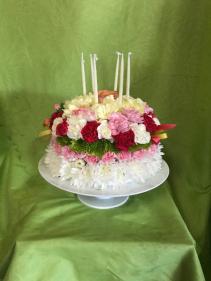 Home-Made-Cake of Flowers Celebration Arrangement