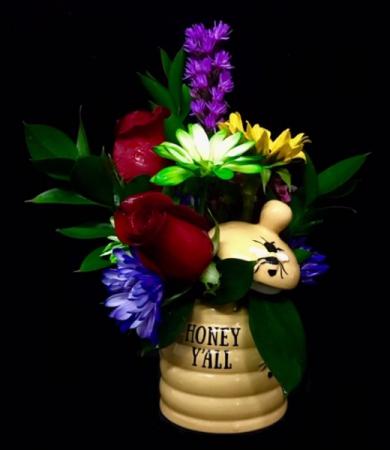 Honey Jar Floral Arrangement in Honey Jar